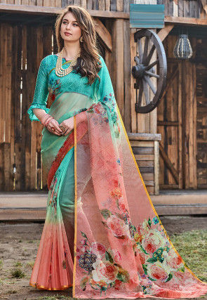 Digital Printed Tissue Saree in Shaded Turquoise and Peach