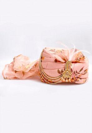 Digital Printed Turban in Light Pink