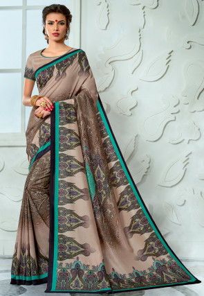 Digital Printed Tussar Silk Saree in Beige