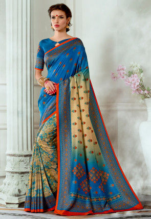 Digital Printed Tussar Silk Saree in Blue and Beige
