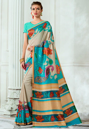 Digital Printed Tussar Silk Saree in Light Beige and Turquoise