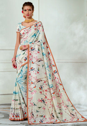 Digital Printed Tussar Silk Saree in Off White