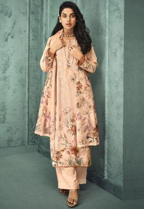 Digital Printed Velvet Pakistani Suit in Peach