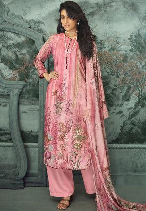 Digital Printed Velvet Pakistani Suit in Pink