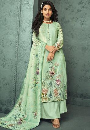 Digital Printed Velvet Pakistani Suit in Sea Green