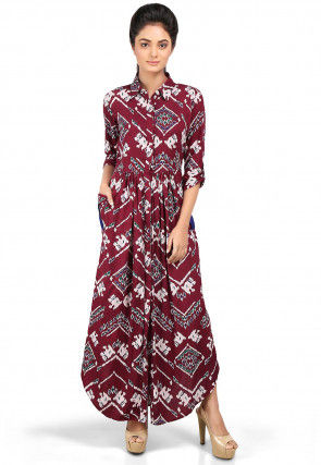Digital Printed Viscose Dress in Maroon