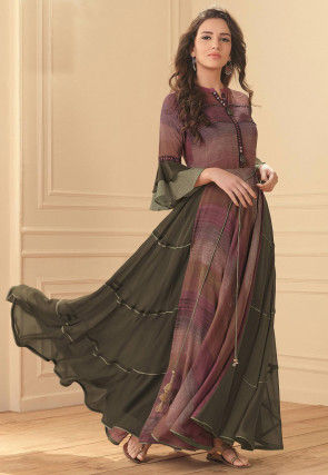Digital Printed Viscose Georgette Flared Gown in Pink and Green
