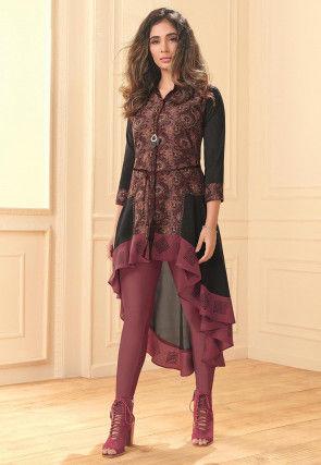 Digital Printed Viscose Georgette Tunic in Black and Pink