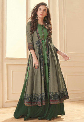 Digital Printed Viscose Jacket Style Gown in Green