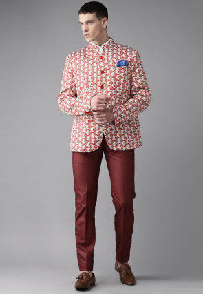 Digital Printed Viscose Jodhpuri Suit in Red and White