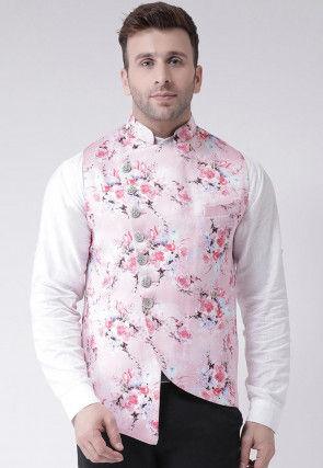Digital Printed Viscose Nehru Jacket in Baby Pink