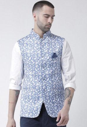 Digital Printed Viscose Nehru Jacket in Light Blue