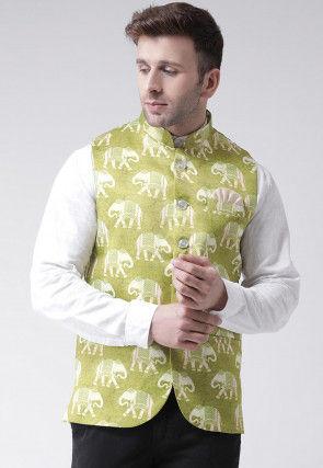 Digital Printed Viscose Nehru Jacket in Light Olive Green