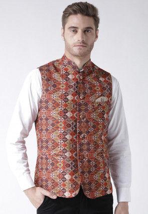 Digital Printed Viscose Nehru Jacket in Multicolor