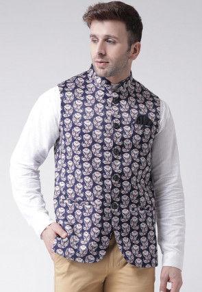 Digital Printed Viscose Nehru Jacket in Navy Blue