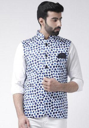 Digital Printed Viscose Nehru Jacket in White and Blue