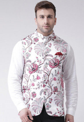Digital Printed Viscose Nehru Jacket in White