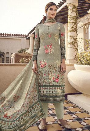 Digital Printed Viscose Pakistani Suit in Dusty Green