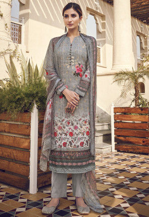 Digital Printed Viscose Pakistani Suit in Grey