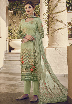 Digital Printed Viscose Pakistani Suit in Pastel Green
