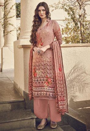 Digital Printed Viscose Pakistani Suit in Peach
