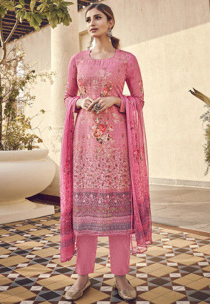 Digital Printed Viscose Pakistani Suit in Pink