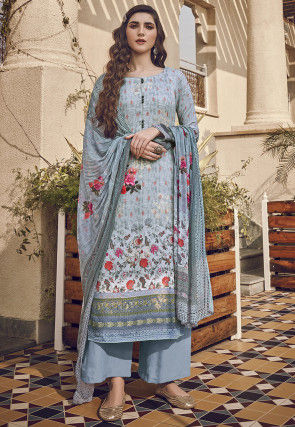 Digital Printed Viscose Pakistani Suit in Sky Blue