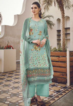 Digital Printed Viscose Pakistani Suit in Turquoise