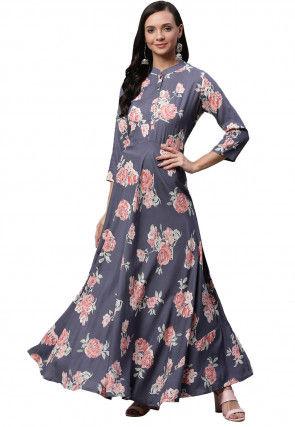 Digital Printed Viscose Rayon Maxi Dress in Grey