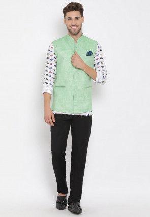Digital Printed Viscose Short Kurta Jacket Set in White