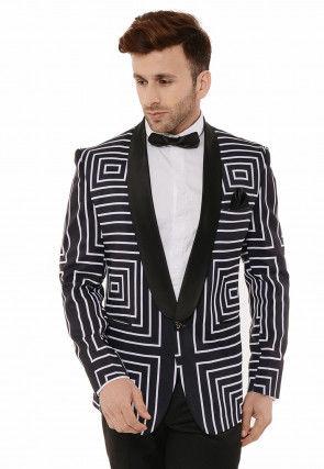 Digital Printed Viscose Tuxedo in Black