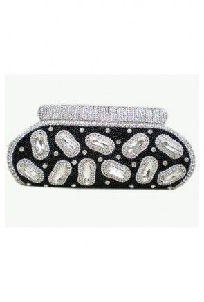 Embroidered Beaded Clutch Bag in Black