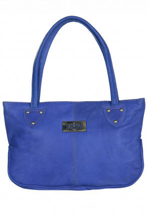 Leather Hand Bag in Blue