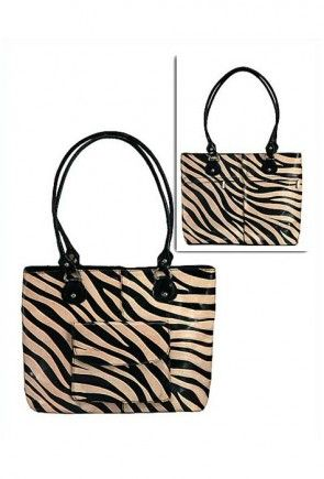 Printed Leather Hand Bag in Black and Beige