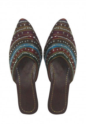Embroidered Leather Sandal in Black and Multicolor