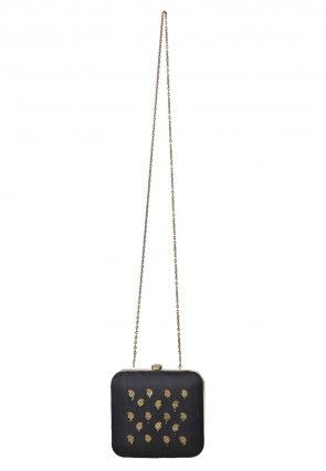 Embroidered Dupion Clutch Bag in Black