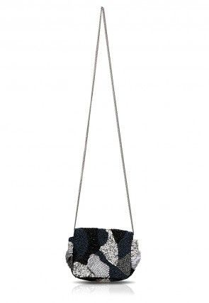 Embroidered Canvas Sling Bag in Black and Grey