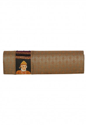 Art Silk Brocade Clutch Bag in Copper