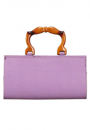 Plain Rexine Clutch Bag in Purple