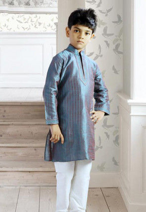Dupion Silk Kurta Pyjama Set in Blue