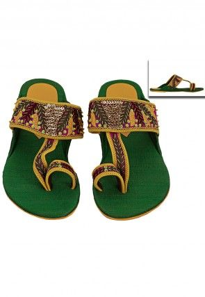 Embroidered Art Silk Kolhapuris Slipper in Yellow and Green