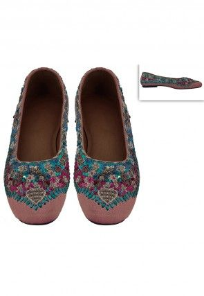 Embroidered Art Silk Ballerinas in Multi