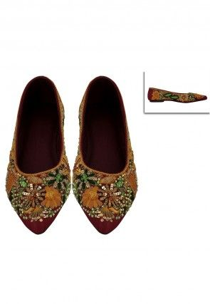 Embroidered Art Silk Mojari in Maroon