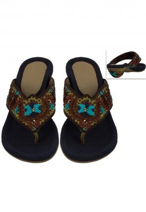 Embroidered Art Silk Sandal in Navy Blue