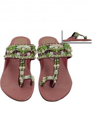 Embroidered Art Silk Kolhapuri Flat Slipper in Old Rose