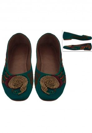 Embroidered Art Silk Ballerinas in Teal Blue