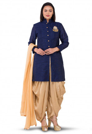 Embroidered Bhagalpuri Silk Punjabi Suit in Navy Blue