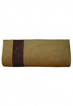 Embellished Art Dupion Silk Envelope Clutch Bag in Beige