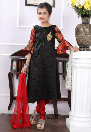 Embellished Art Silk A Line Suit in Black and Red