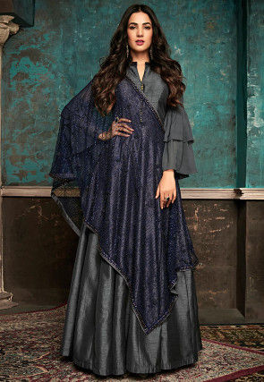 Embellished  Art Silk Abaya Style Suit in Grey